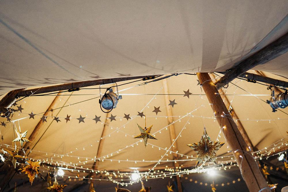 Stars Fairy Lights Glitter Ball Tipi Garden Wedding Kit Myers Photography