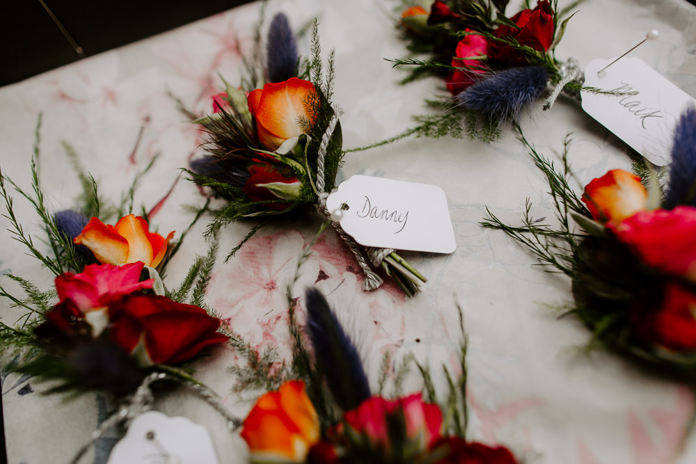 Buttonholes Rose Thistle Flowers Floral Tipis Riley Green Wedding Jessica Isherwood Photography