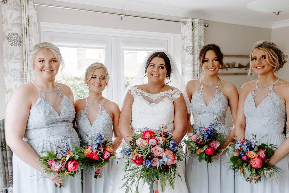 Bride Bridal Lace Dress Gown Sweetheart Neckline Boat Neck Veil Halterneck Bridesmaids Bouquet Pink Blue Bouquet Tipis Riley Green Wedding Jessica Isherwood Photography