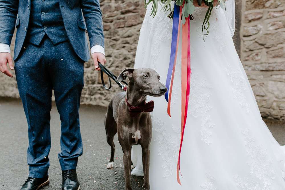 Bride Bridal Lace Dress Gown Sweetheart Neckline Boat Neck Blue Tweed Three Piece Suit Waistcoat Suit Groom Veil Dog Bow Tie Tipis Riley Green Wedding Jessica Isherwood Photography