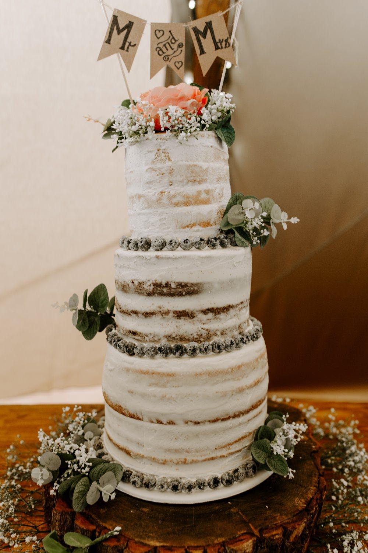 Semi Naked Buttercream Cake Flowers Gypsophila Bunting Topper Mr & Mrs Tipis Riley Green Wedding Jessica Isherwood Photography
