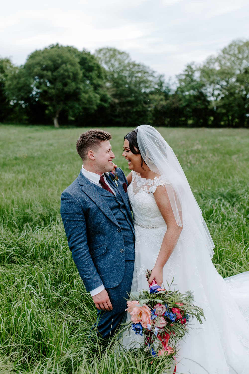 Bride Bridal Lace Dress Gown Sweetheart Neckline Boat Neck Blue Tweed Suit Groom Veil Tipis Riley Green Wedding Jessica Isherwood Photography