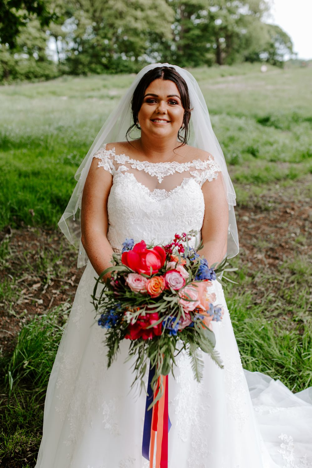 Bride Bridal Lace Dress Gown Sweetheart Neckline Boat Neck Veil Tipis Riley Green Wedding Jessica Isherwood Photography
