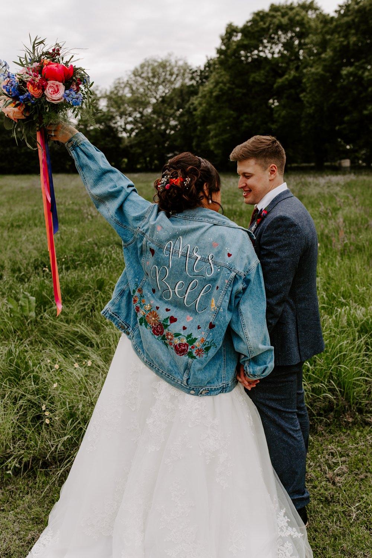 Customised Denim Jacket Mrs Bouquet Ribbon Tipis Riley Green Wedding Jessica Isherwood Photography