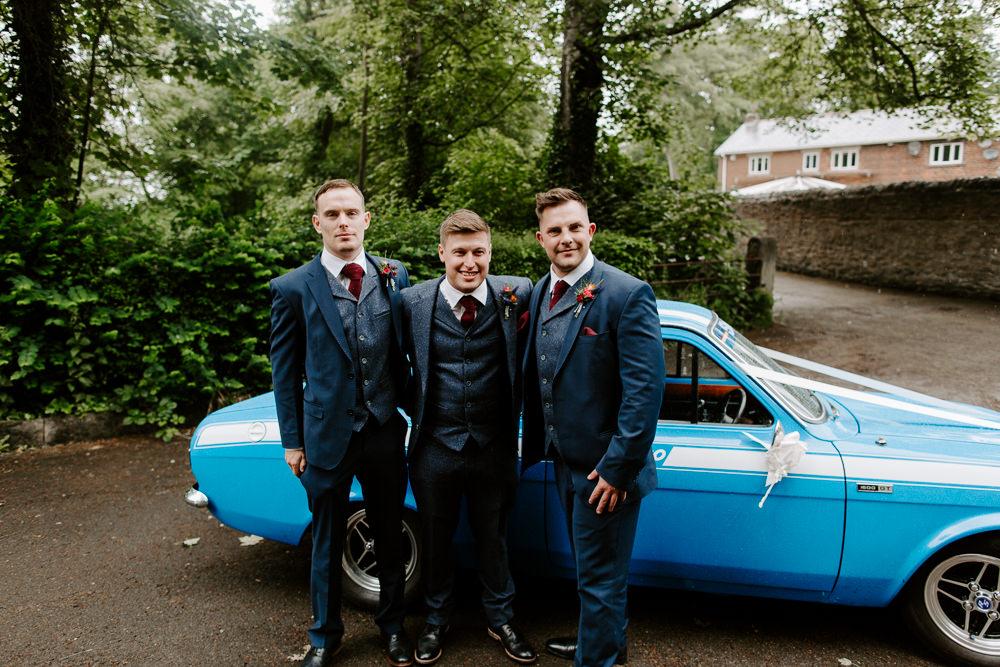 Blue Tweed Three Piece Suit Waistcoat Groom Groomsmen Tipis Riley Green Wedding Jessica Isherwood Photography