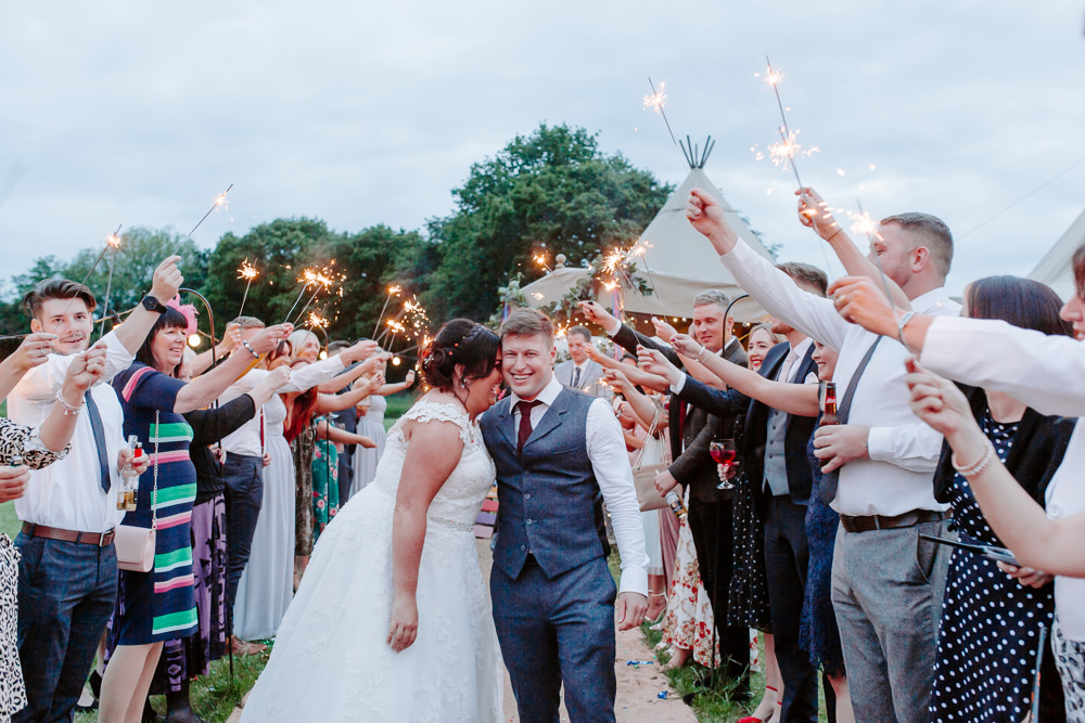 Bride Bridal Lace Dress Gown Sweetheart Neckline Boat Neck Blue Tweed Three Piece Suit Waistcoat Suit Groom Sparkler Send Off Tipis Riley Green Wedding Jessica Isherwood Photography