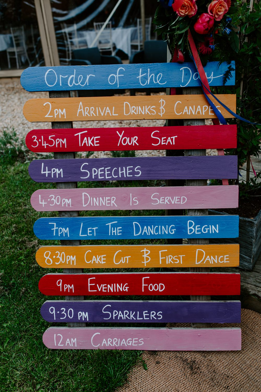 Timings Order of Day Wooden Sign Tipis Riley Green Wedding Jessica Isherwood Photography