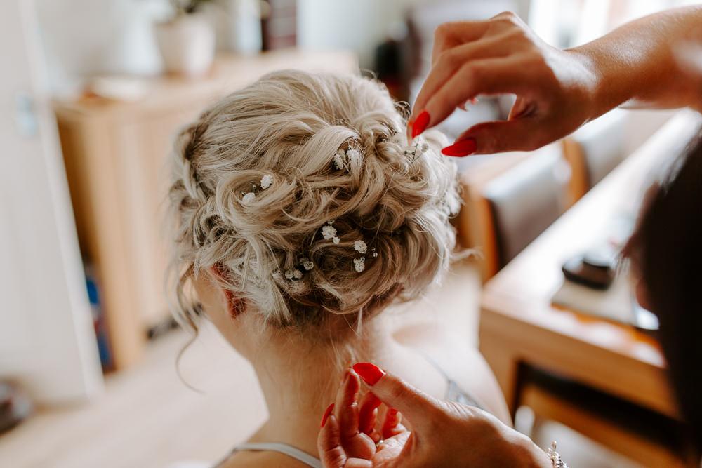 Bride Bridal Bridesmaids Up Do Hair Gypsophila Tipis Riley Green Wedding Jessica Isherwood Photography