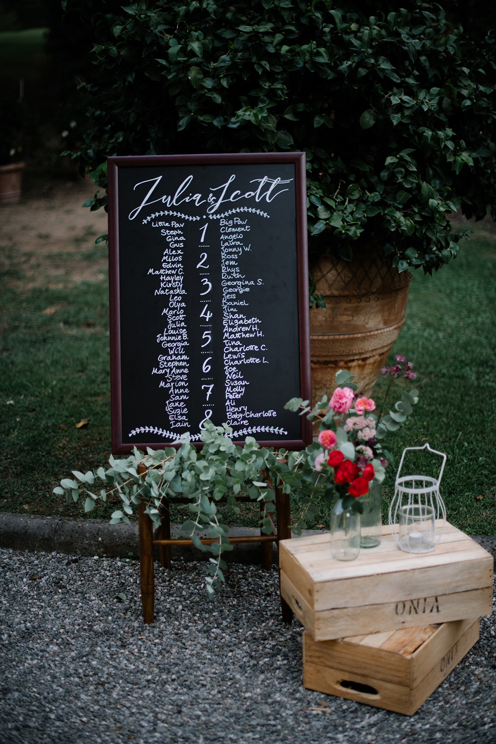 Seating Plan Table Chart Black Board Chalk Calligraphy Greenery Tuscany Wedding Lelia Scarfiotti