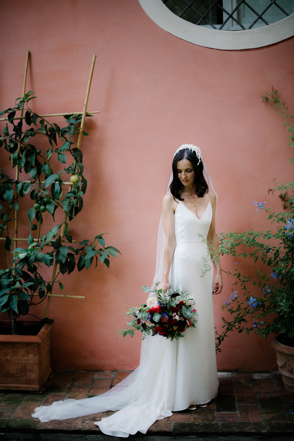 Bride Bridal Dress Gown by Alexandra Grecco Lace Veil Spaghetti Straps Tuscany Wedding Lelia Scarfiotti