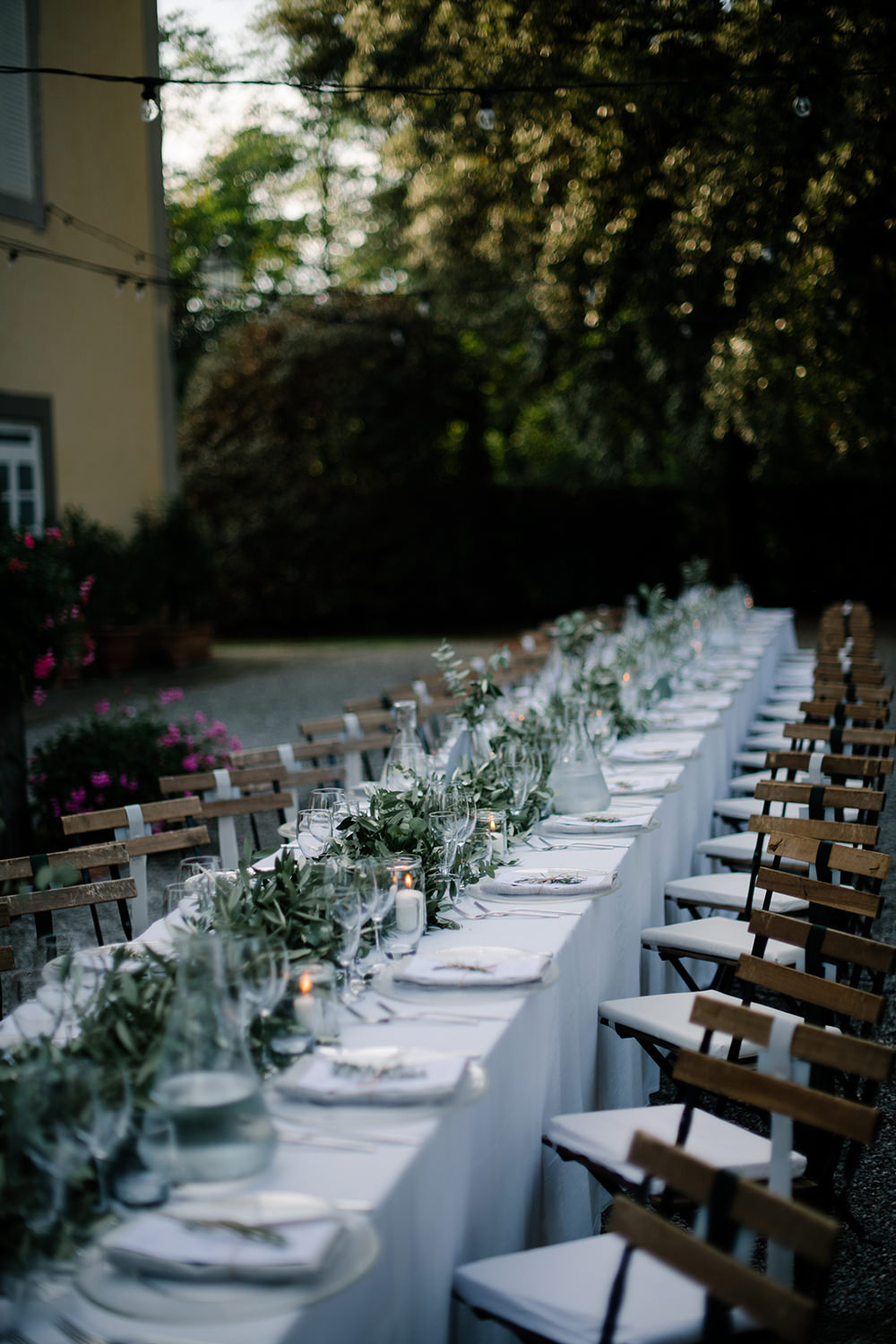 Long Tables Greenery Foliage Olive Eucalyptus Outdoor Outside Reception Tuscany Wedding Lelia Scarfiotti