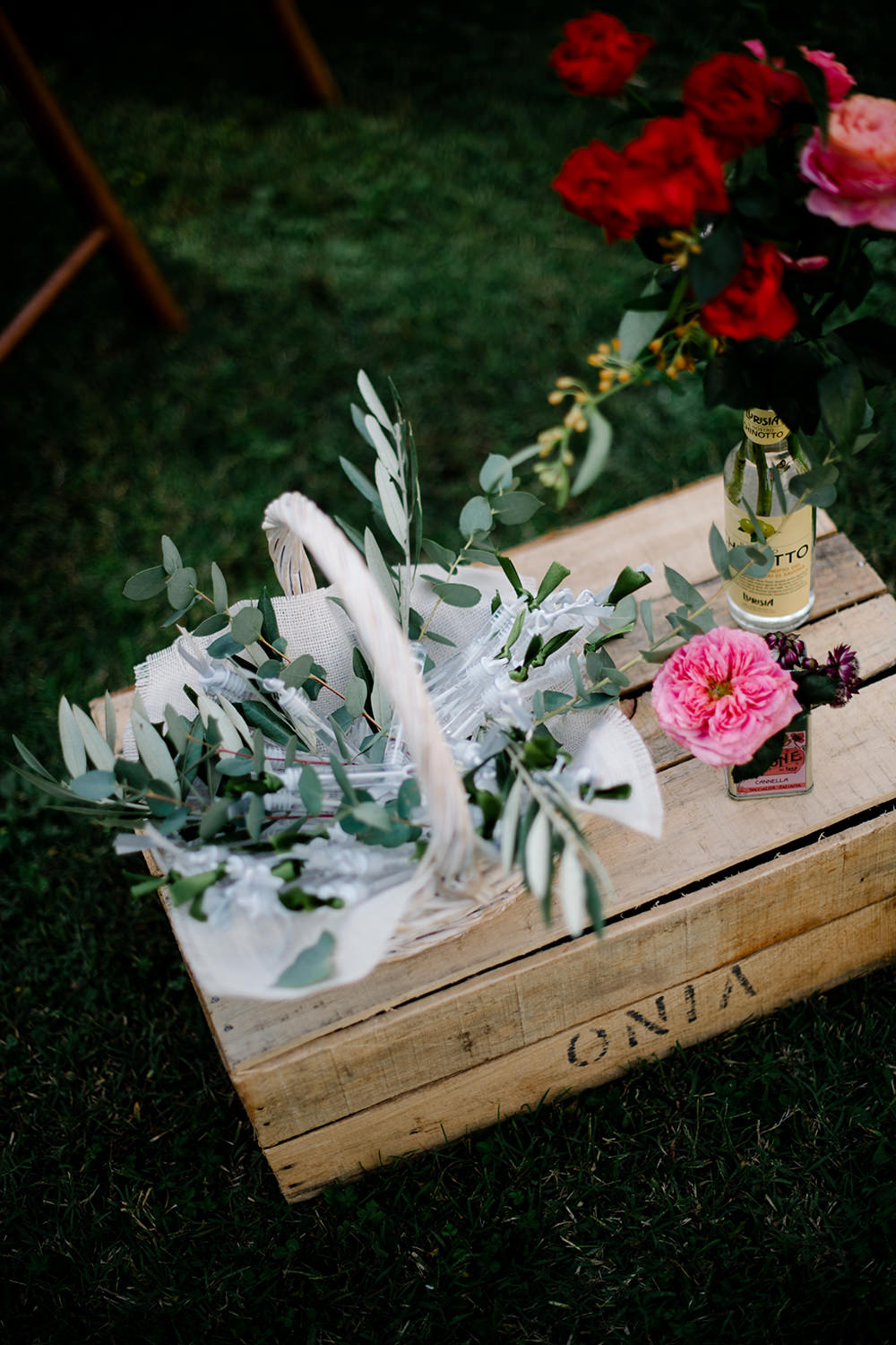 Wooden Crate Flowers Grenery Basket Tuscany Wedding Lelia Scarfiotti