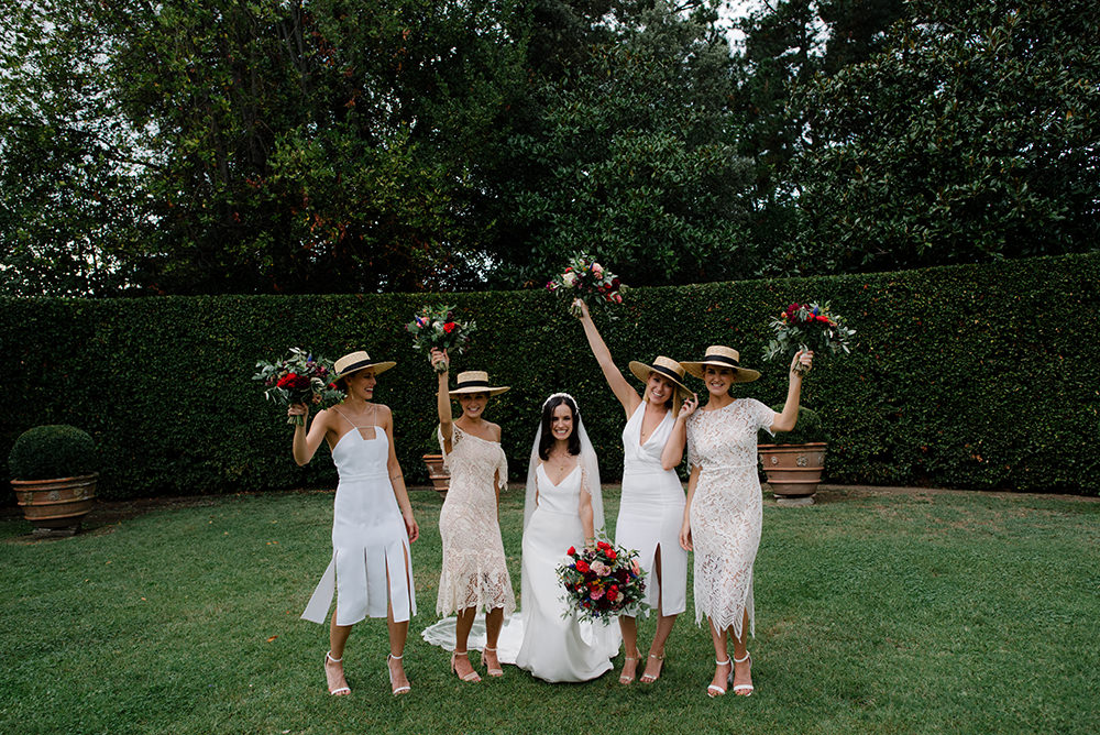 Bridesmaid Bridesmaids Dress Dresses Boater Hats Tuscany Wedding Lelia Scarfiotti