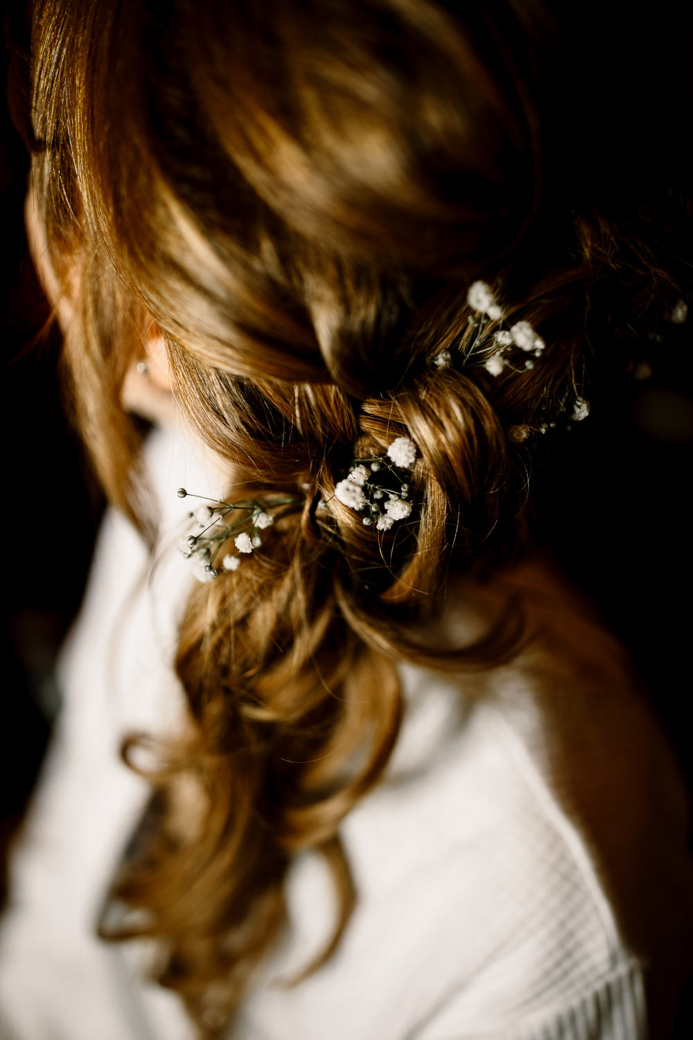 Bride Bridal Hair Style Up Do Half Up Half Down Yorkshire Barn Wedding Hayley Baxter Photography