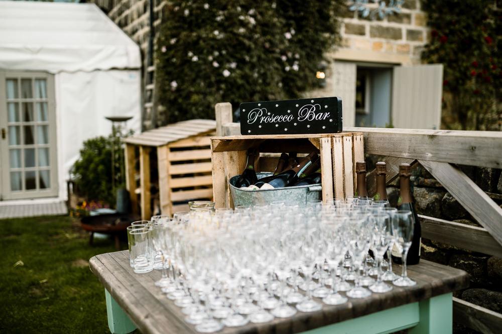Prosecco Bar Drinks Yorkshire Barn Wedding Hayley Baxter Photography