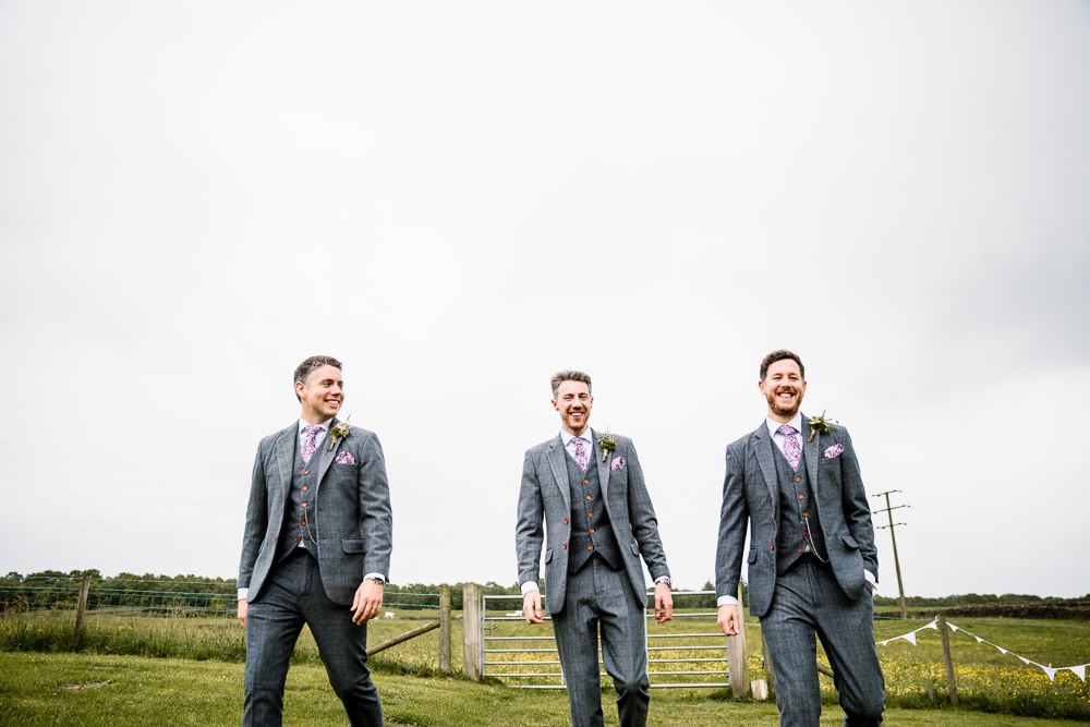 Groom Groomsmen Suit Grey Check Floral Tie Yorkshire Barn Wedding Hayley Baxter Photography