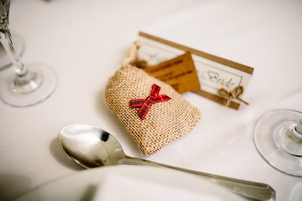 Favour Bag Hessian Burlap Favor Yorkshire Barn Wedding Hayley Baxter Photography
