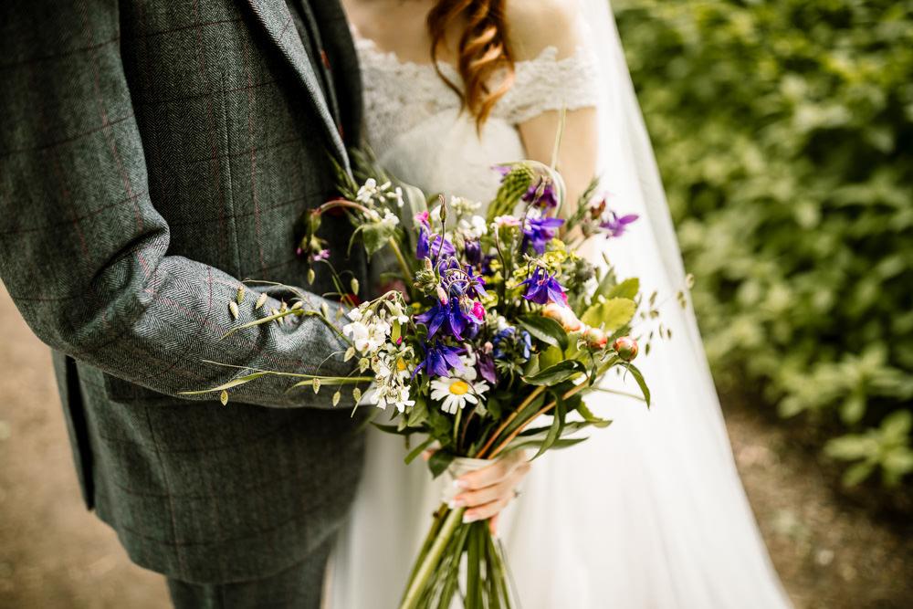 Bouquet Flowers Bride Bridal Daisy Purple Yorkshire Barn Wedding Hayley Baxter Photography