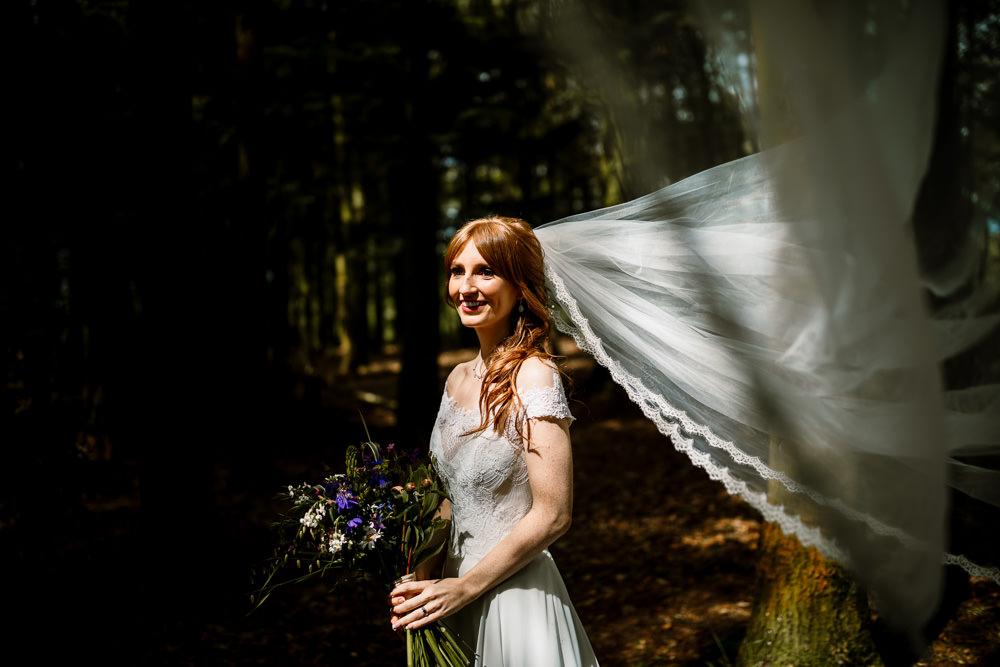 Bride Bridal Dress Gown Veil Rebecca Ingram Train Lace Yorkshire Barn Wedding Hayley Baxter Photography