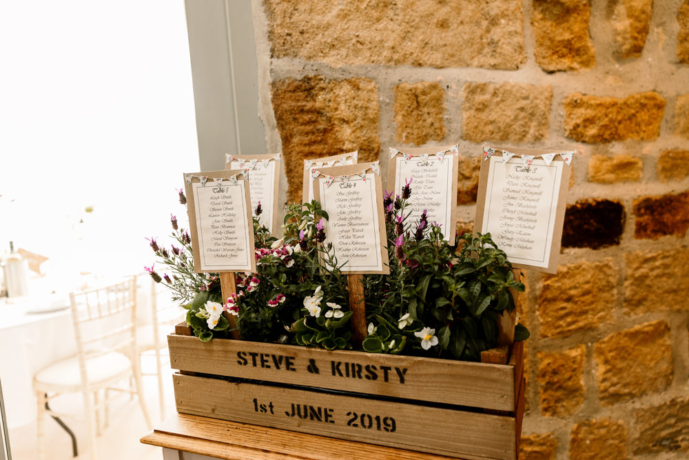 Seating Plan Table Chart Wooden Crate Sticks Flowers Yorkshire Barn Wedding Hayley Baxter Photography