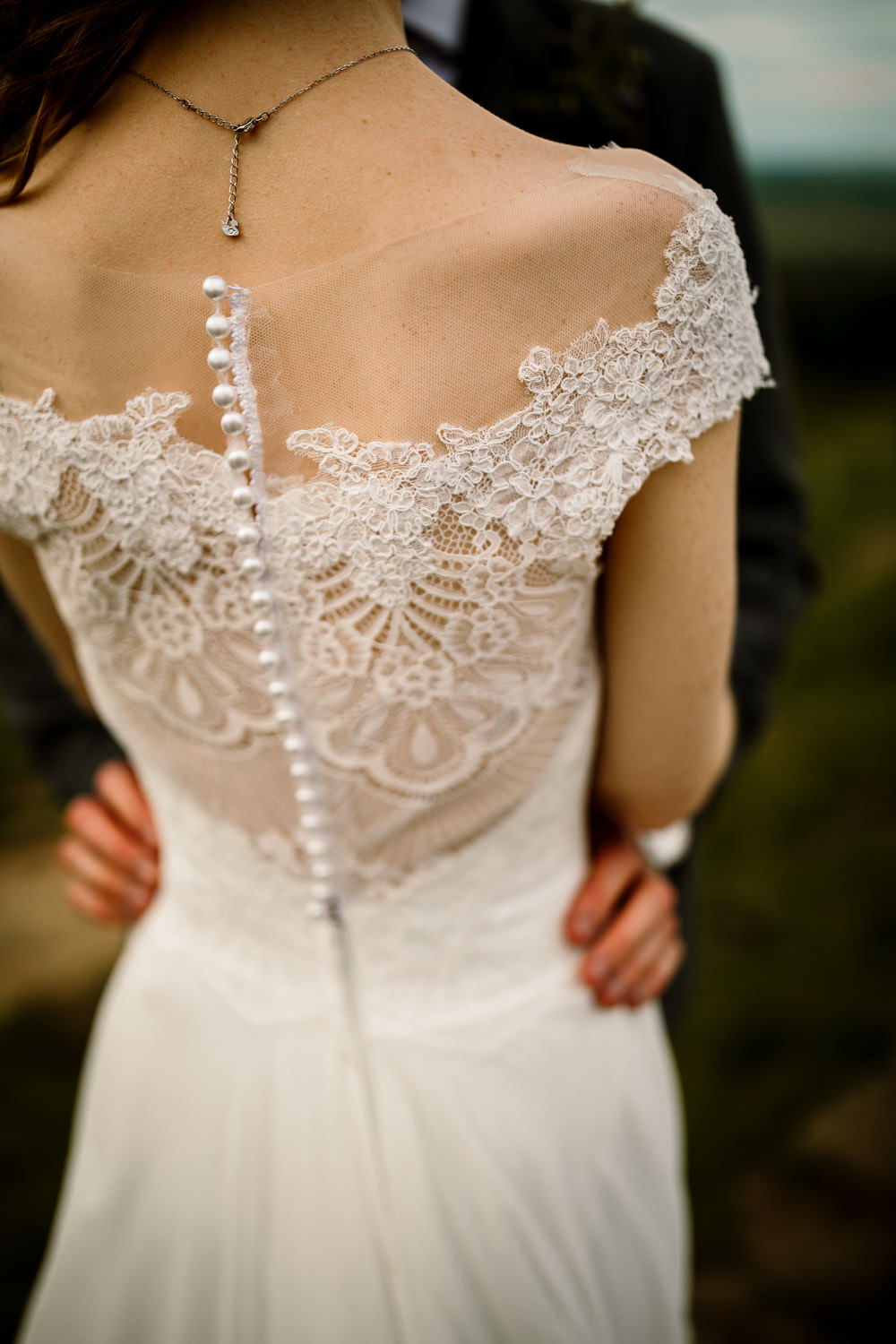 Bride Bridal Dress Gown Veil Rebecca Ingram Train Lace Back Buttons Yorkshire Barn Wedding Hayley Baxter Photography