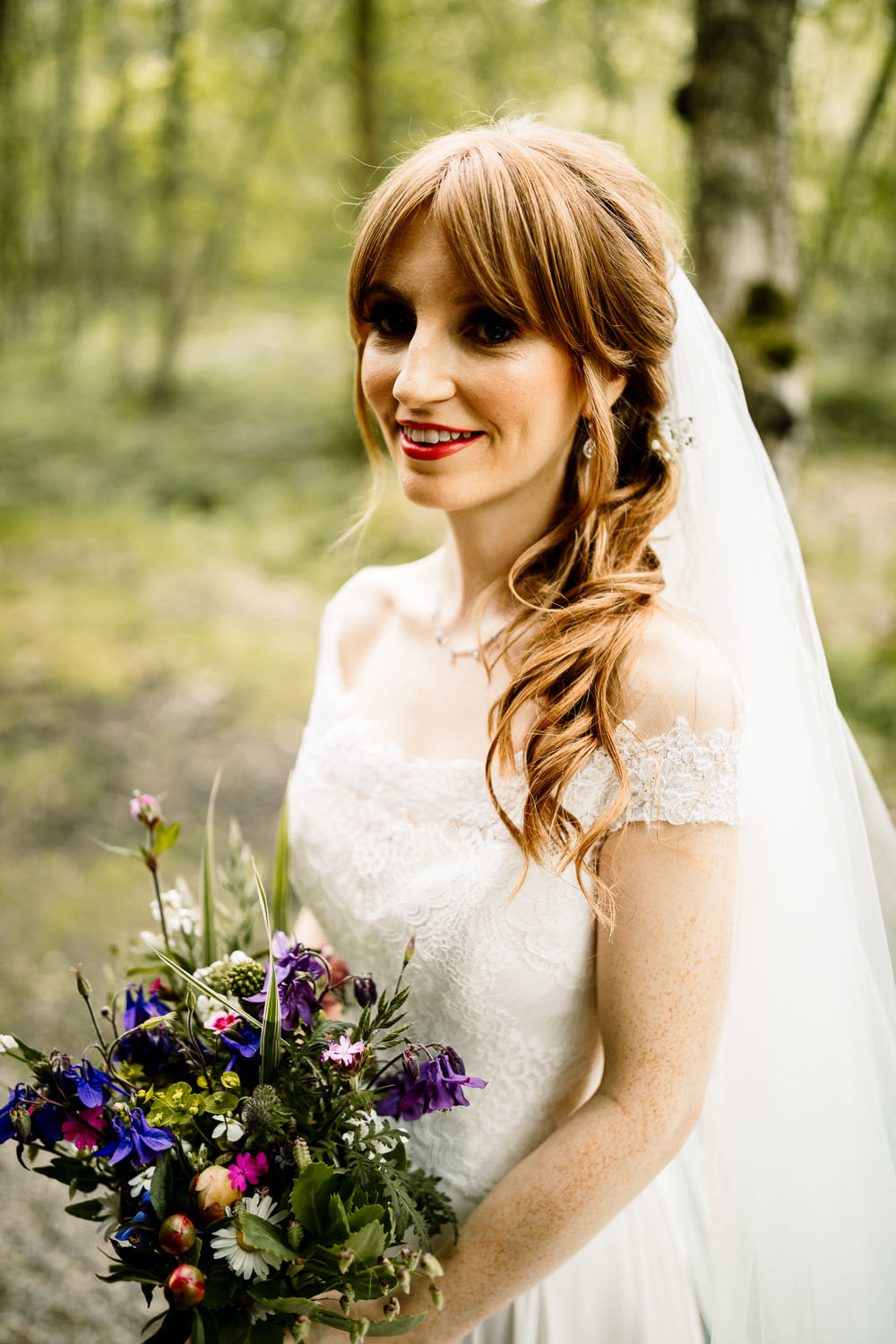 Bride Bridal Hair Style Half Up Half Down Veil Make Up Bouquet Yorkshire Barn Wedding Hayley Baxter Photography