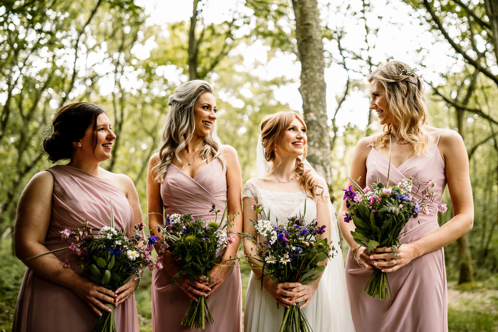 Bridesmaids Bridesmaid Dress Dresses Dusky Pink Yorkshire Barn Wedding Hayley Baxter Photography