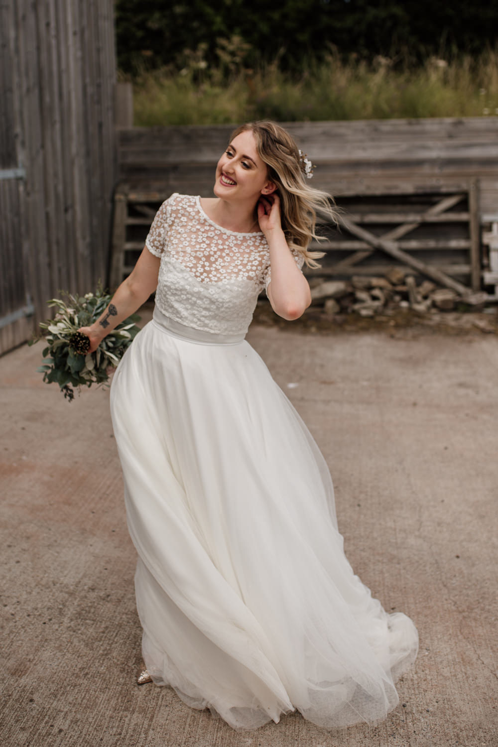 Bride Bridal Separates V Back Lace Top Tulle Skirt Barn Brynich Wedding Magda K Photography