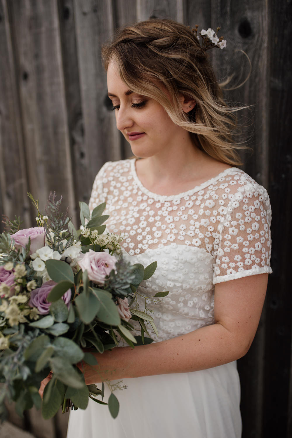 Bride Bridal Separates V Back Lace Top Tulle Skirt Bouquet Eucalyptus Pink Rose Greenery Barn Brynich Wedding Magda K Photography
