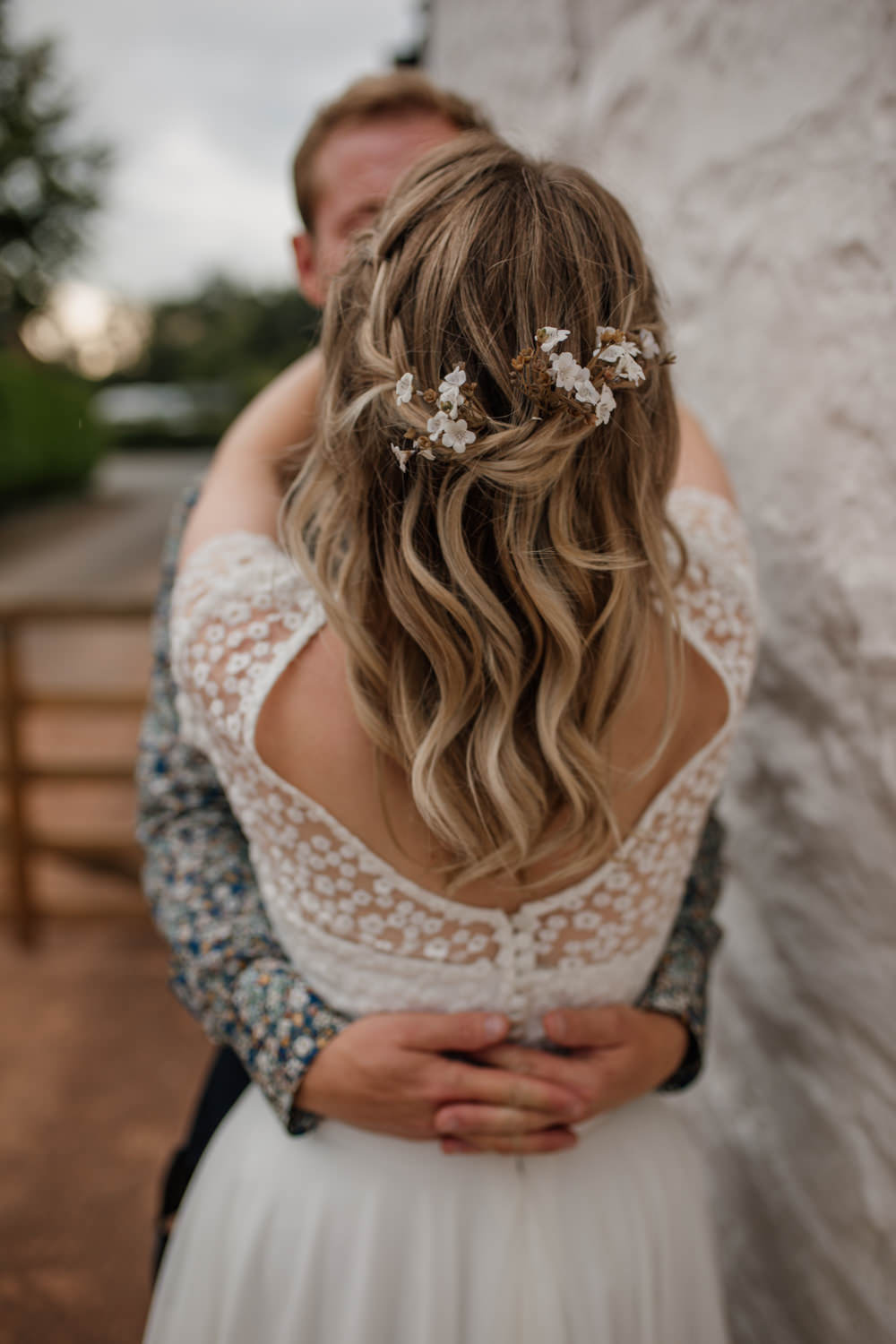 Hair Floral Flowers Half Up Plait Braid Barn Brynich Wedding Magda K Photography