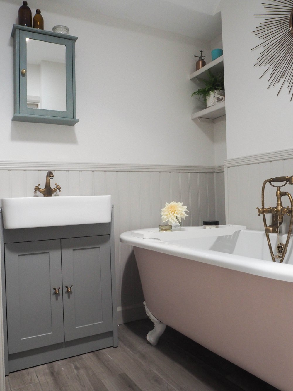 Bathroom Pink Roll Top Bath Renovation 1930s Brass Taps Panelling Walls Farrow & Ball Floor Tiles
