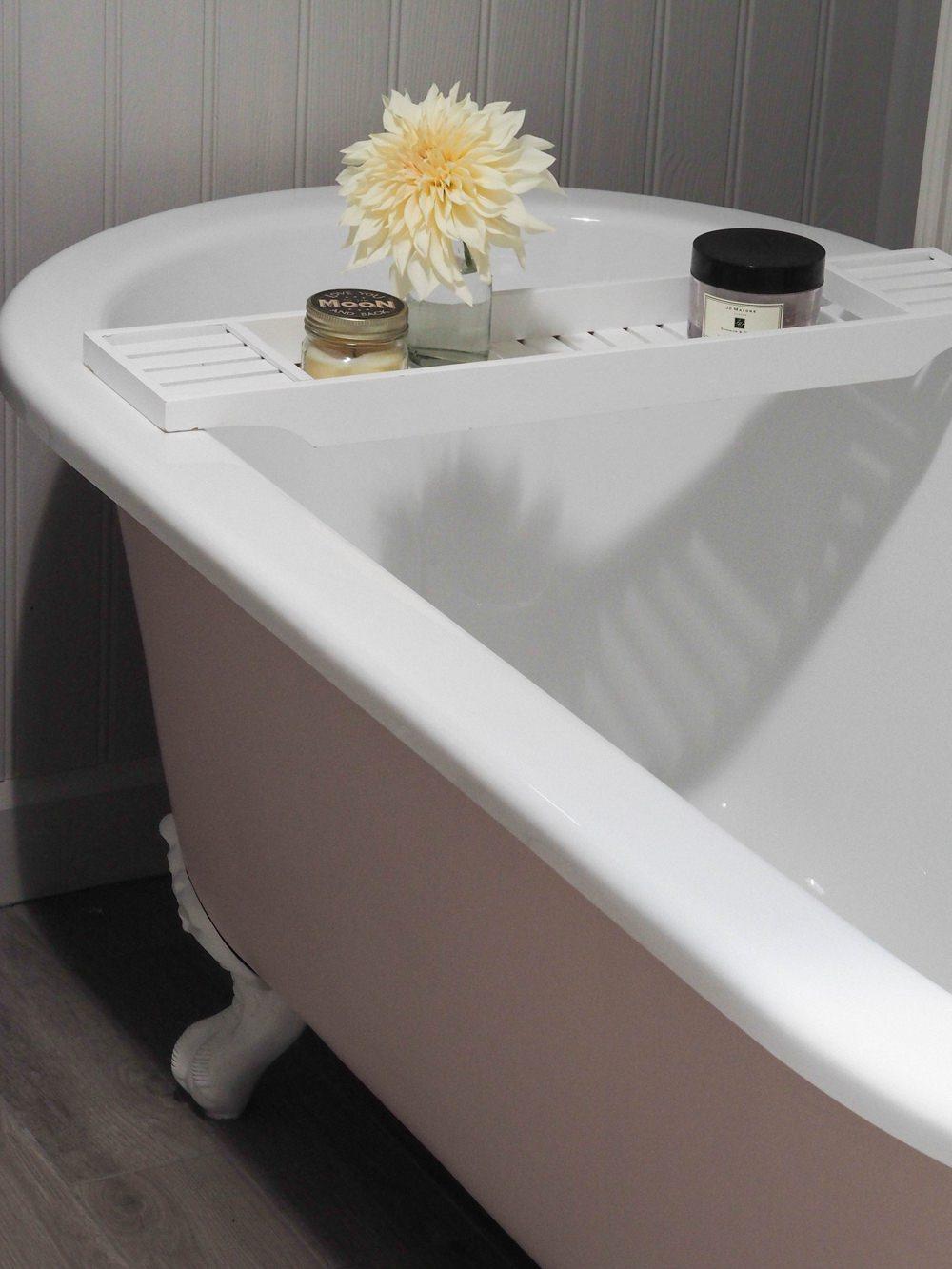 Bath Rack Accessories Bathroom Pink Roll Top Bath Renovation 1930s Brass Taps Panelling Walls Farrow & Ball Floor Tiles