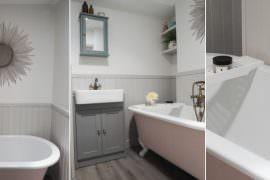 Bathroom Pink Roll Top Bath Renovation 1930s