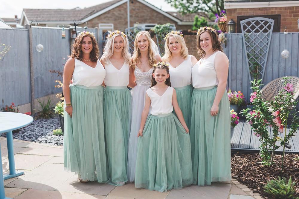 Bridesmaids Dresses Bridesmaid Dress Top Skirt Sage Green Flower Crowns Bedfordshire Farm Wedding Milkbottle Photography