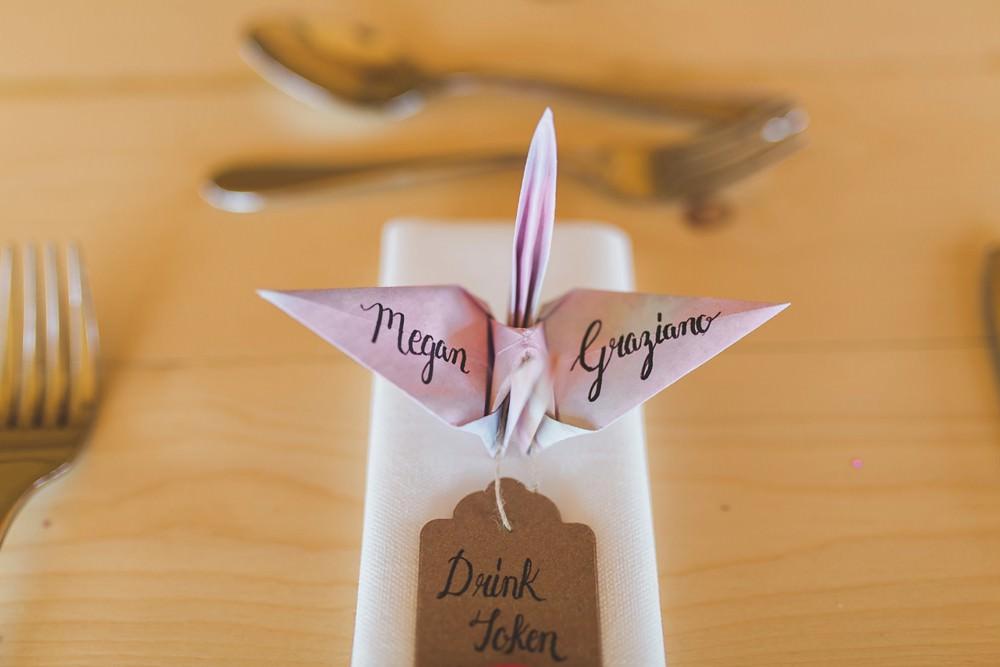 Tipi Origami Birds Cranes Decor Decoration Place Setting Name Card Bedfordshire Farm Wedding Milkbottle Photography