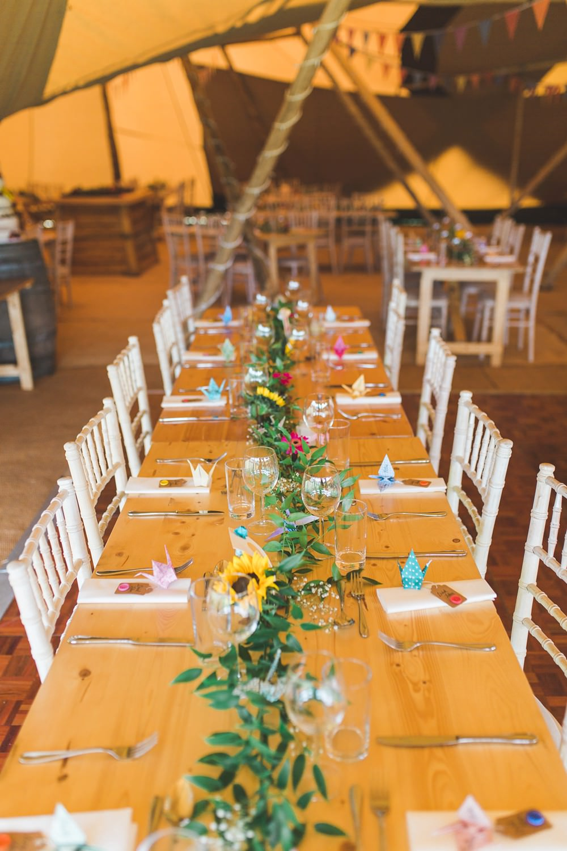 Long Wooden Tables Greenery Foliage Sunflower Garland Swag Decor Bedfordshire Farm Wedding Milkbottle Photography