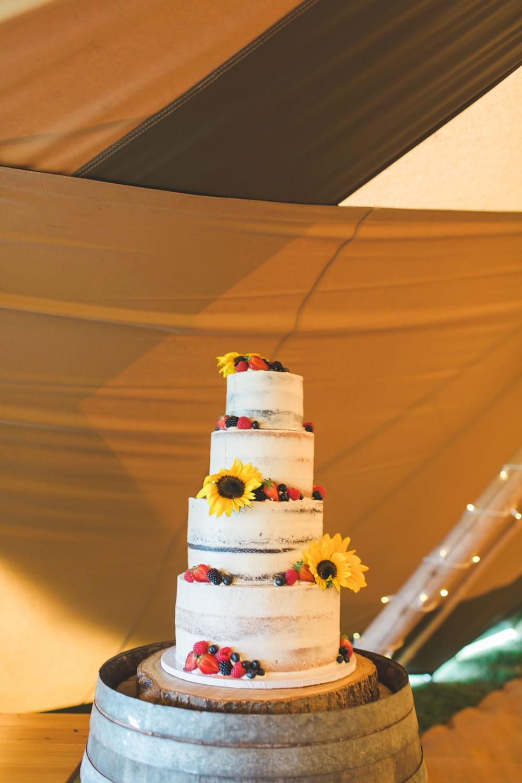 Tall Semi Naked Cake Fruit Berries Sunflowers Bedfordshire Farm Wedding Milkbottle Photography
