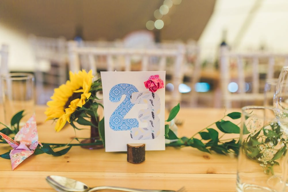 Illustrated Table Number Bedfordshire Farm Wedding Milkbottle Photography