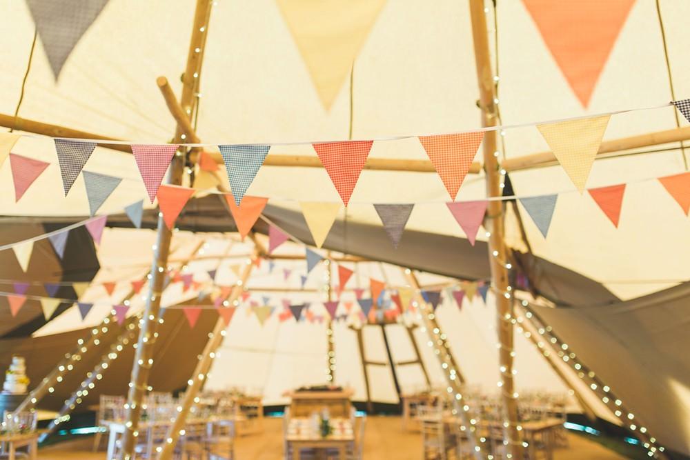 Tipi Fairy Lights Bunting Decor Bedfordshire Farm Wedding Milkbottle Photography