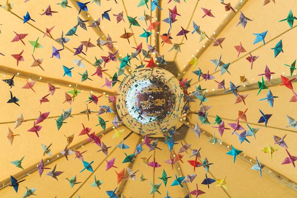 Tipi Origami Birds Cranes Decor Decoration Disco Ball Bedfordshire Farm Wedding Milkbottle Photography