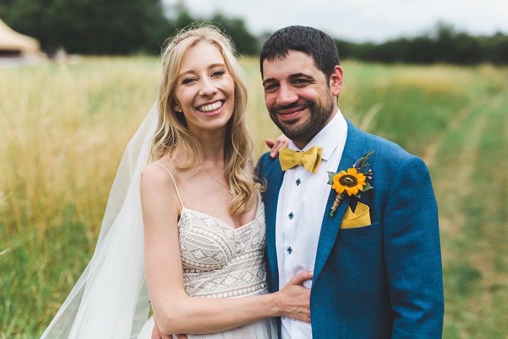 Groom Blue Suit Yellow Bow Tie Sunflower Buttonhole Bedfordshire Farm Wedding Milkbottle Photography