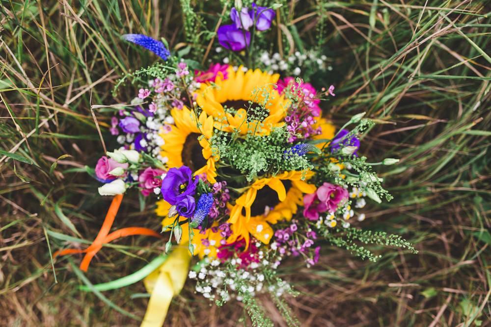Bouquet Flowers Bride Bridal Sunflowers Yellow Ribbon Pink Gerbera Bedfordshire Farm Wedding Milkbottle Photography