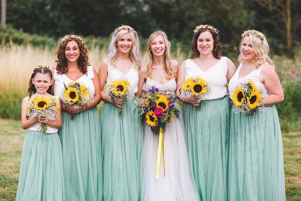 Bridesmaids Dresses Bridesmaid Dress Top Skirt Sage Green Flower Crowns Sunflowers Bedfordshire Farm Wedding Milkbottle Photography