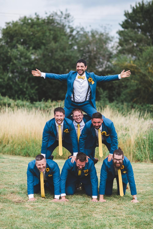 Groom Blue Suit Yellow Bow Tie Sunflower Buttonhole Groomsmen Bedfordshire Farm Wedding Milkbottle Photography