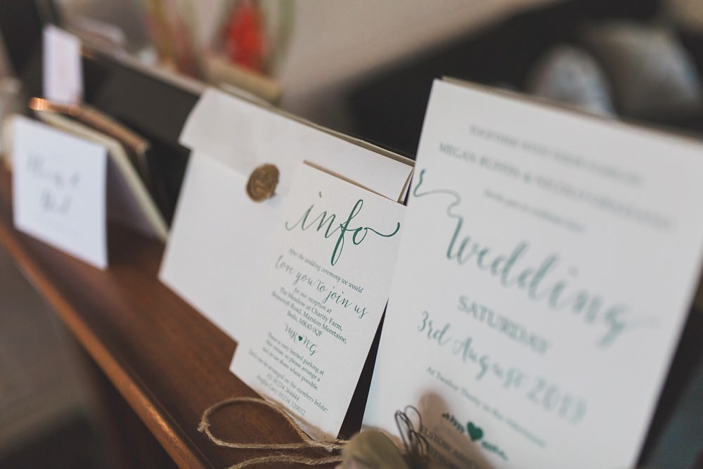 Stationery Invites Invitations Calligraphy Bedfordshire Farm Wedding Milkbottle Photography