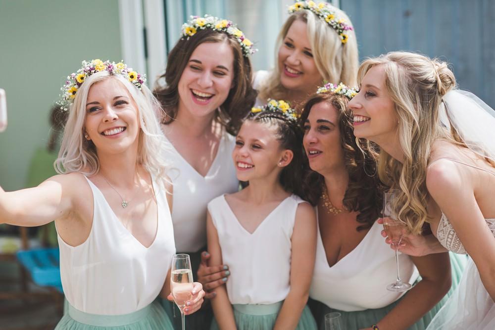 Bridesmaids Flower Crowns Bedfordshire Farm Wedding Milkbottle Photography