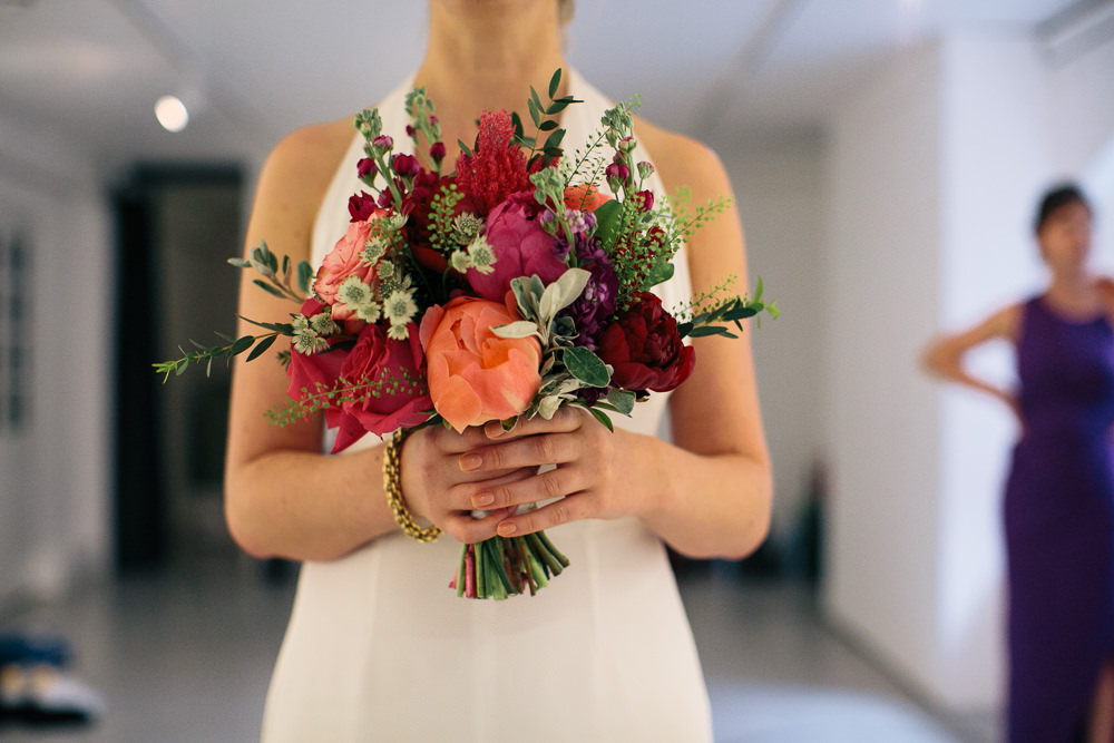 Bouquet Flowers Bride Bridal Pink Orange Peony Rose Coral Bridal Jumpsuit Wedding Emily Jarrett Photography