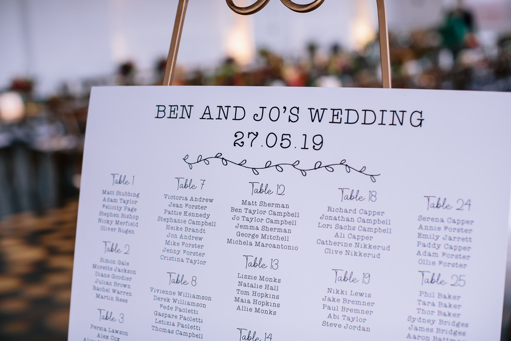 Seating Chart Table Plan Bridal Jumpsuit Wedding Emily Jarrett Photography