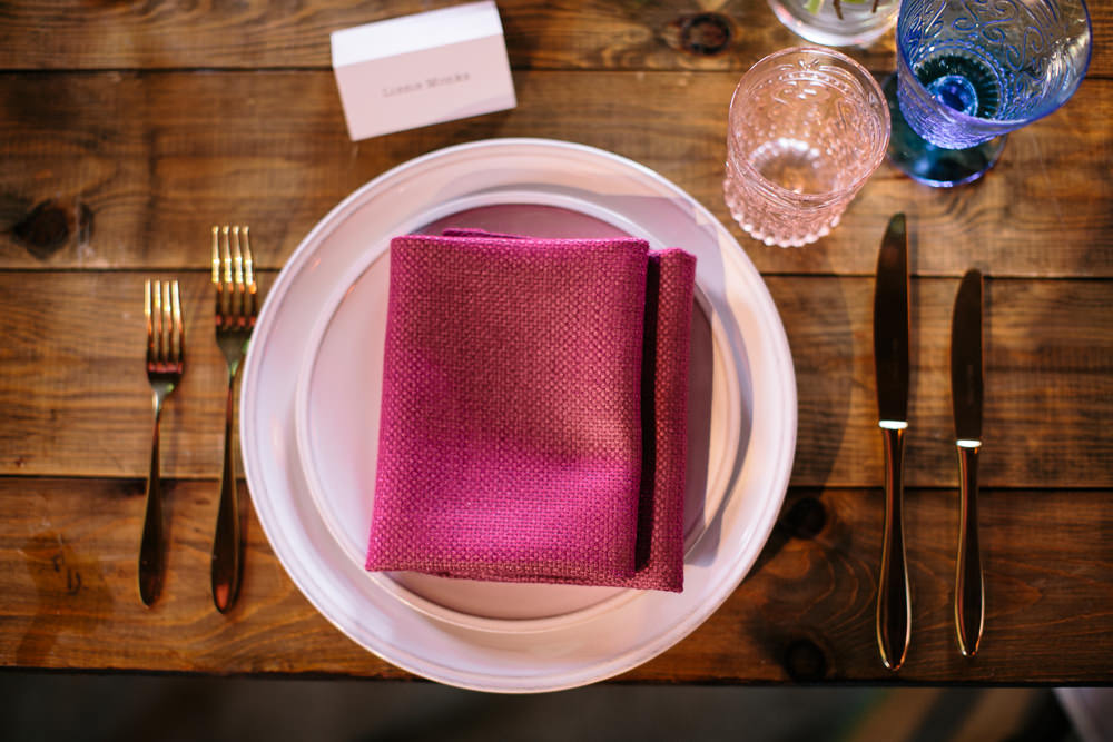 Place Setting Pink Napkin Bridal Jumpsuit Wedding Emily Jarrett Photography