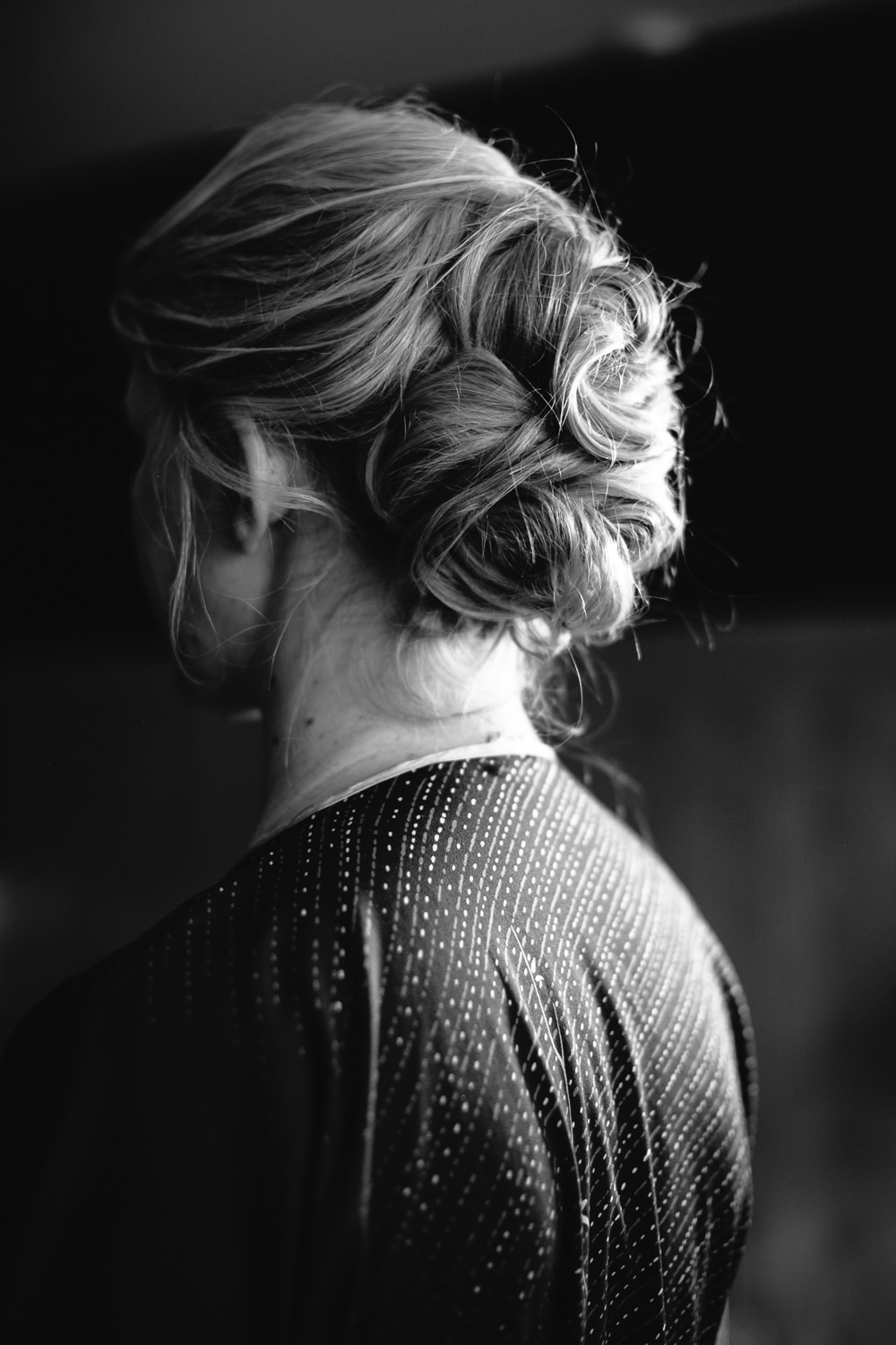 Bride Hair Style Up Do Bridal Jumpsuit Wedding Emily Jarrett Photography